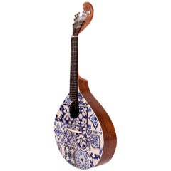 20th Century Azulejo IV Fado Guitar Walnut Wood Hand Painted