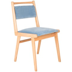 20th Century Baby Blue Velvet Chair, 1960s