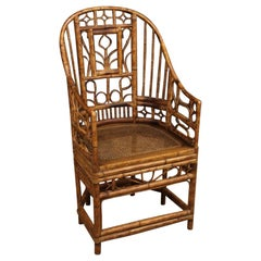 20th Century Bamboo Wood and Cane French Armchair, 1950