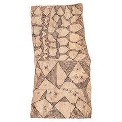 20th Century Bark Cloth Painting, Mbuti 'Efe' People, D.R. Congo