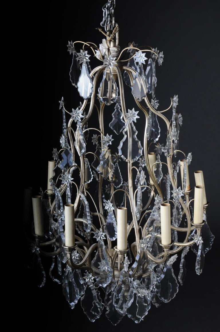 20th Century Baroque Crystal Chandelier, Silver, circa 1920 For Sale 5