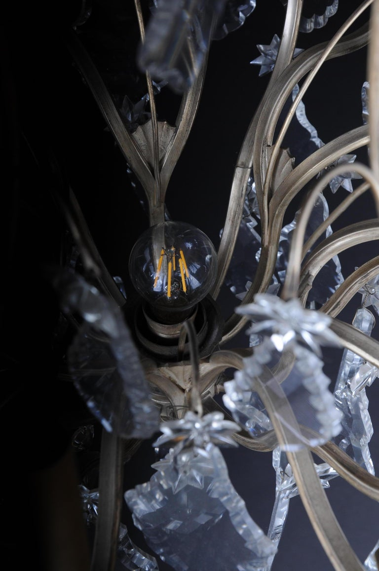 20th Century Baroque Crystal Chandelier, Silver, circa 1920 For Sale 6