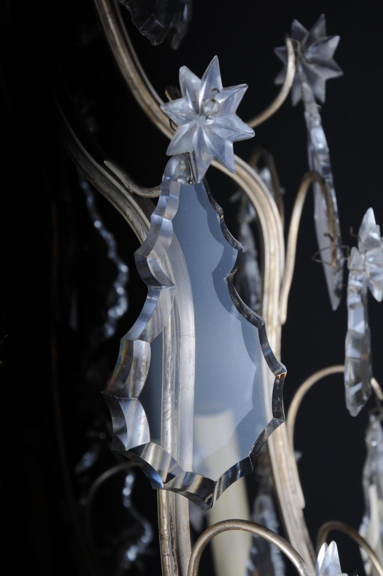 20th Century Baroque Crystal Chandelier, Silver, circa 1920 For Sale 7