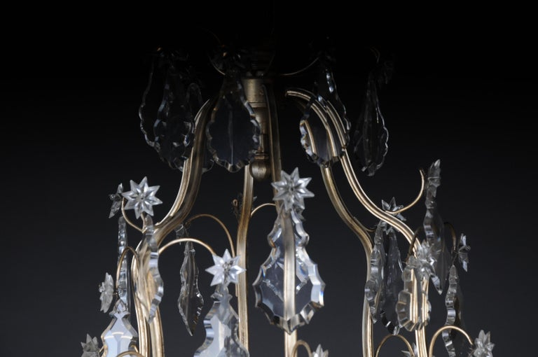 French 20th Century Baroque Crystal Chandelier, Silver, circa 1920 For Sale