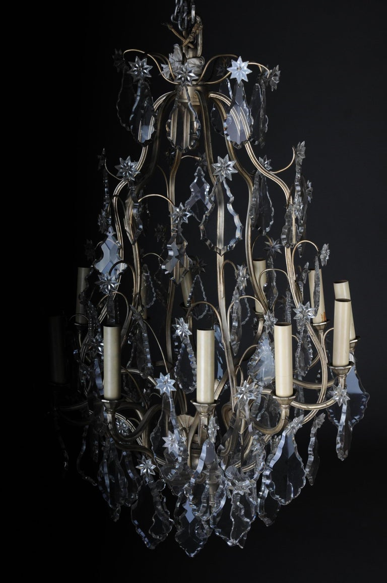 20th Century Baroque Crystal Chandelier, Silver, circa 1920 For Sale 1