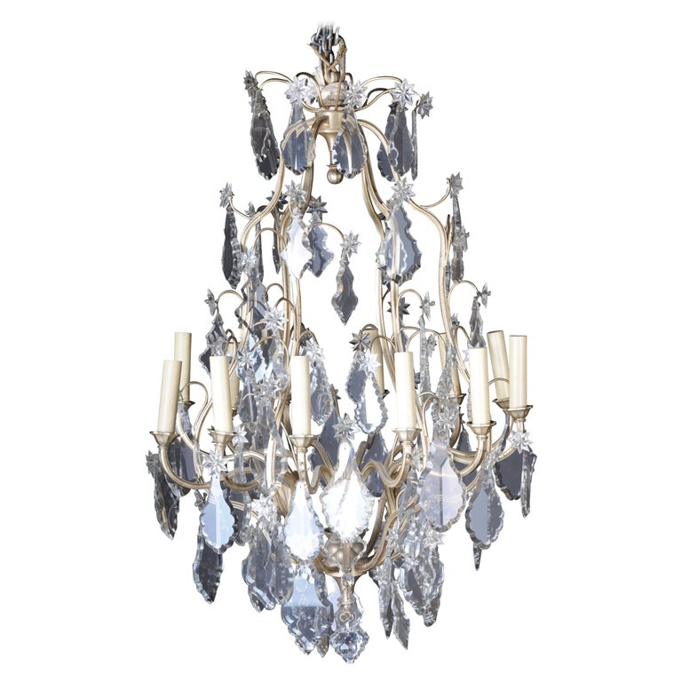 20th Century Baroque Crystal Chandelier, Silver, circa 1920 For Sale