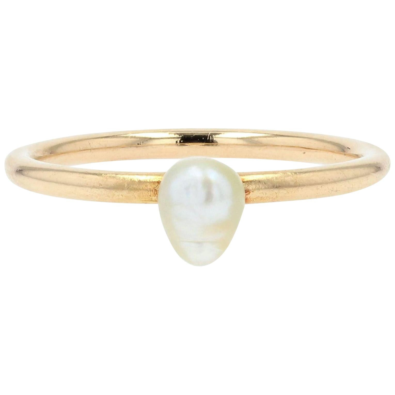 20th Century Baroque Pearl 18 Karat Yellow Gold Solitaire Ring
