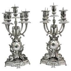 20th Century Baroque Silver Candelabras Florence Italy, 1950s