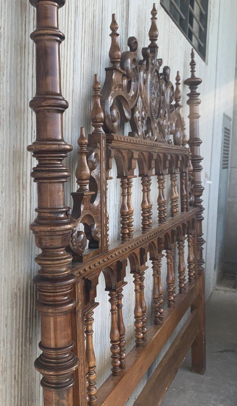 French 20th Century Baroque Style King Size Headboard in Carved Walnut For Sale