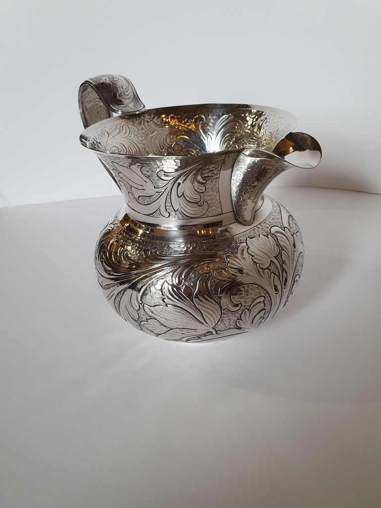 Italian 20th Century Baroque Style Sterling Silver Water Jug, Italy, 1985 For Sale
