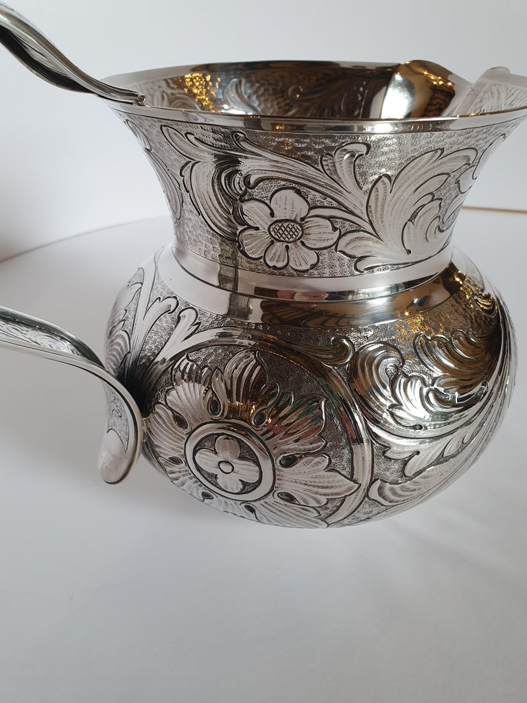 Hand-Crafted 20th Century Baroque Style Sterling Silver Water Jug, Italy, 1985 For Sale