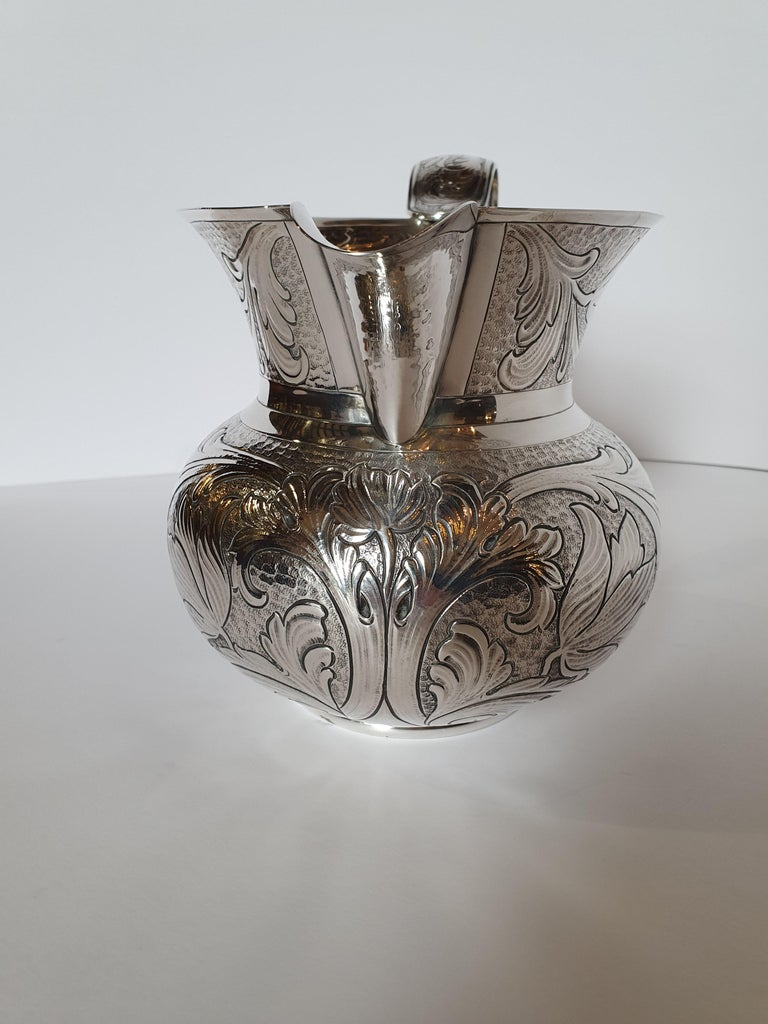 Late 20th Century 20th Century Baroque Style Sterling Silver Water Jug, Italy, 1985 For Sale