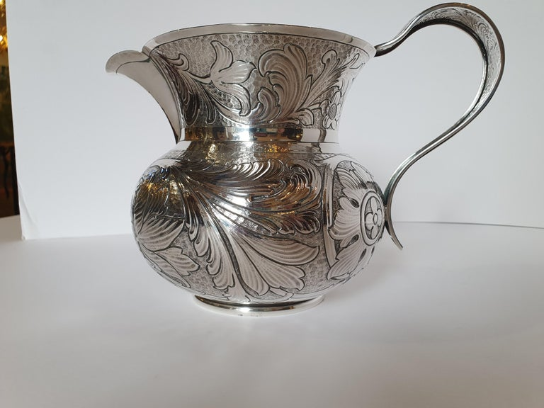 20th Century Baroque Style Sterling Silver Water Jug, Italy, 1985 For Sale 1
