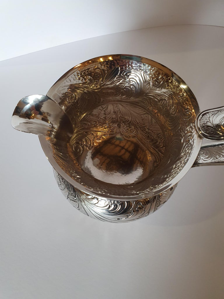 20th Century Baroque Style Sterling Silver Water Jug, Italy, 1985 For Sale 2
