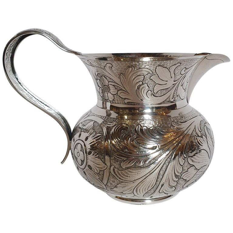 20th Century Baroque Style Sterling Silver Water Jug, Italy, 1985 For Sale