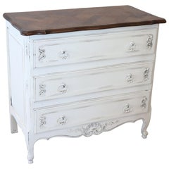 20th Century Baroque Style White Lacquered Wood Commode or Chest of Drawer