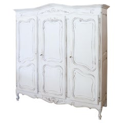 20th Century Baroque Style White Lacquered Wood Wardrobe or Armoire