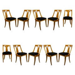 20th Century BBPR Set of 10 Chairs in Wood and Synthetic Fur