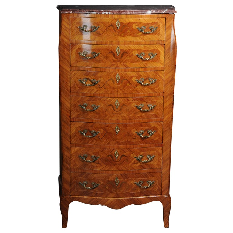 20th Century Beautiful High Chest of Drawers / Chiffoniere in Louis XV For Sale
