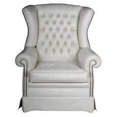 20th Century Beautiful Vintage Chesterfield Armchair / Club Chair, White