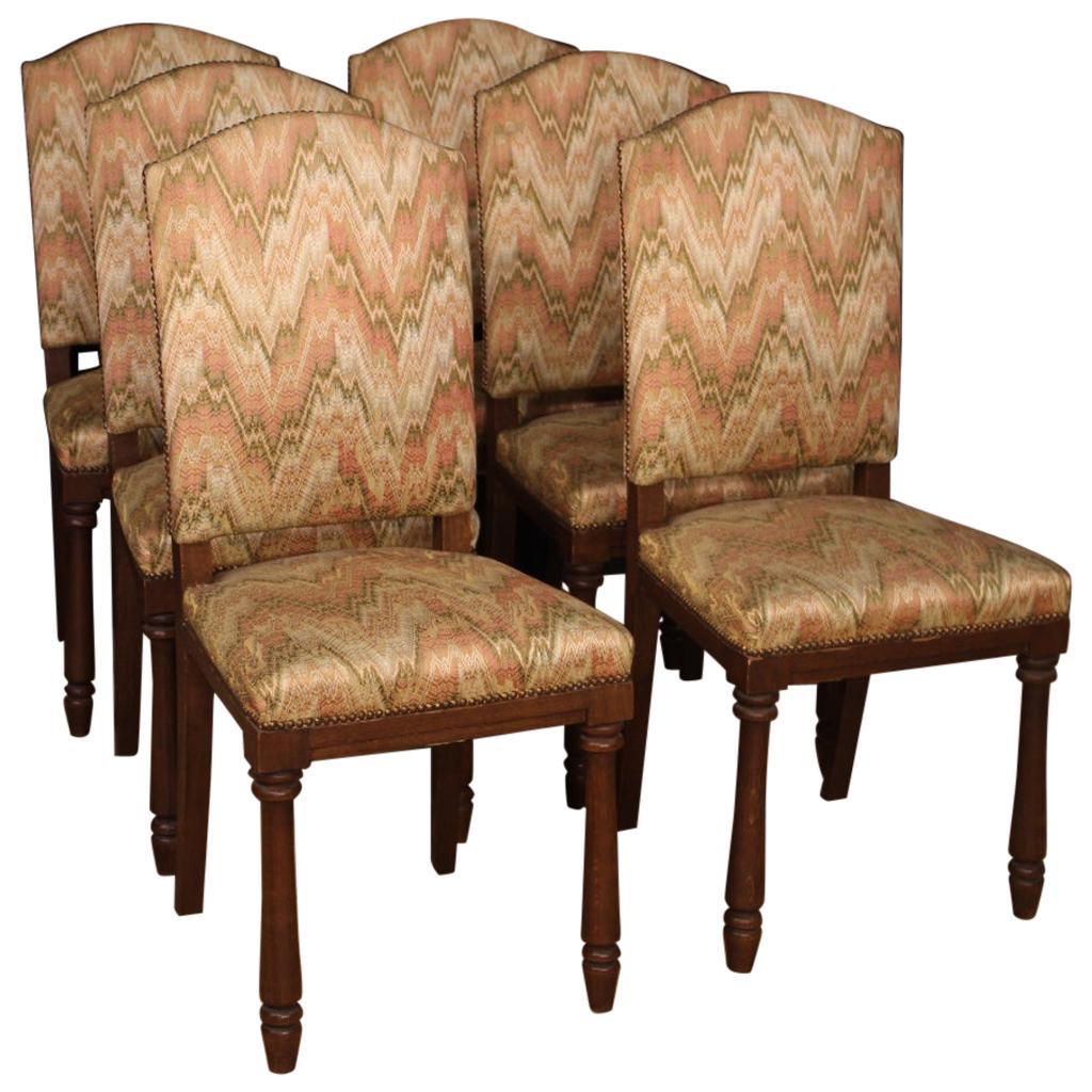 20th Century Beech Wood and Fabric Italian 6 Lounge Chairs, 1960