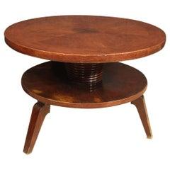 20th Century Beech Wood Italian Design Round Coffee Table, 1970