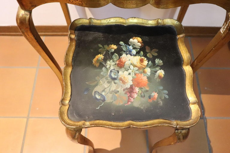 Louis XV 20th Century Belle Époque Style Golden hand painted Side Table or Sofa Table For Sale