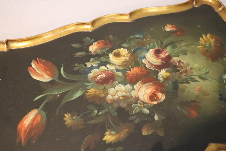 Gilt 20th Century Belle Époque Style Golden hand painted Side Table or Sofa Table For Sale