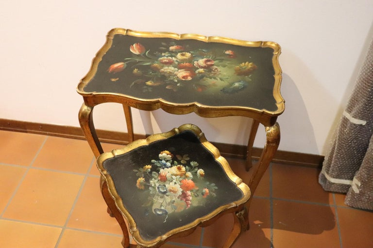 20th Century Belle Époque Style Golden hand painted Side Table or Sofa Table In Fair Condition For Sale In Bosco Marengo, IT