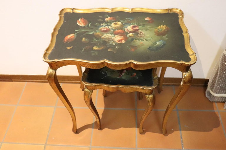 Mid-20th Century 20th Century Belle Époque Style Golden hand painted Side Table or Sofa Table For Sale