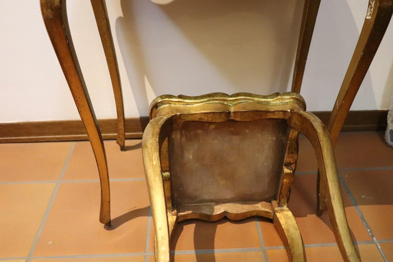 Wood 20th Century Belle Époque Style Golden hand painted Side Table or Sofa Table For Sale