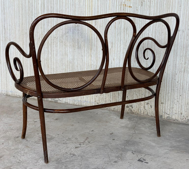 20th Century Bentwood Sofa in the Thonet Style, circa 1925, Caned Seat For Sale 4