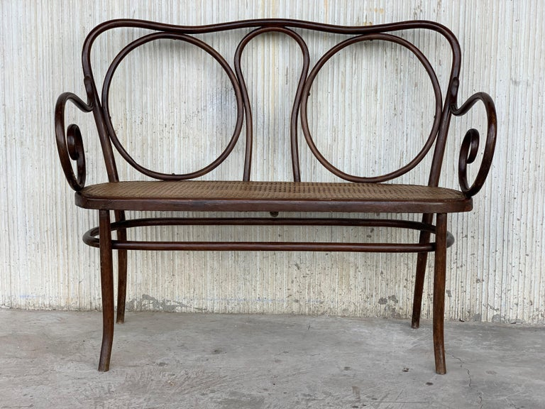 Spanish Colonial 20th Century Bentwood Sofa in the Thonet Style, circa 1925, Caned Seat For Sale