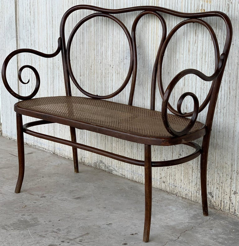 Early 20th Century 20th Century Bentwood Sofa in the Thonet Style, circa 1925, Caned Seat For Sale