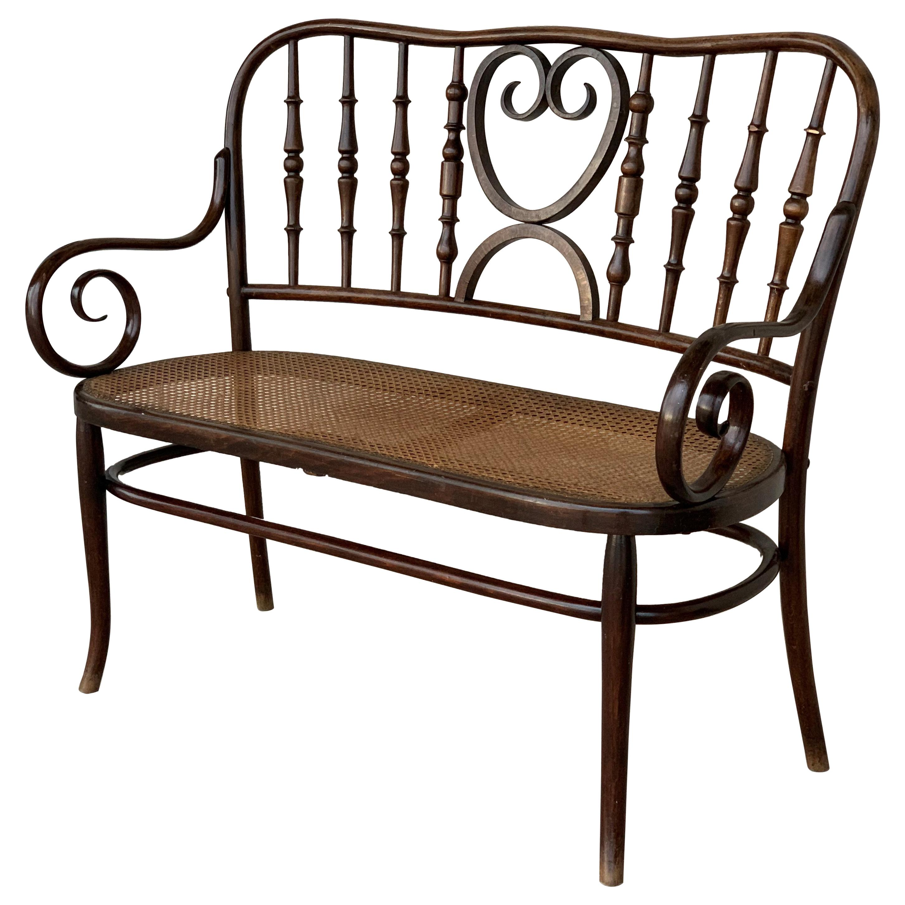 20th Century Bentwood Sofa in the Thonet Style, circa 1925, Caned Seat
