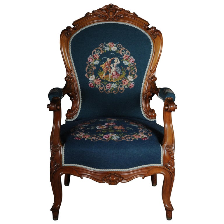20th Century Biedermeier Armchair Louis Philippe, circa 1855 For Sale