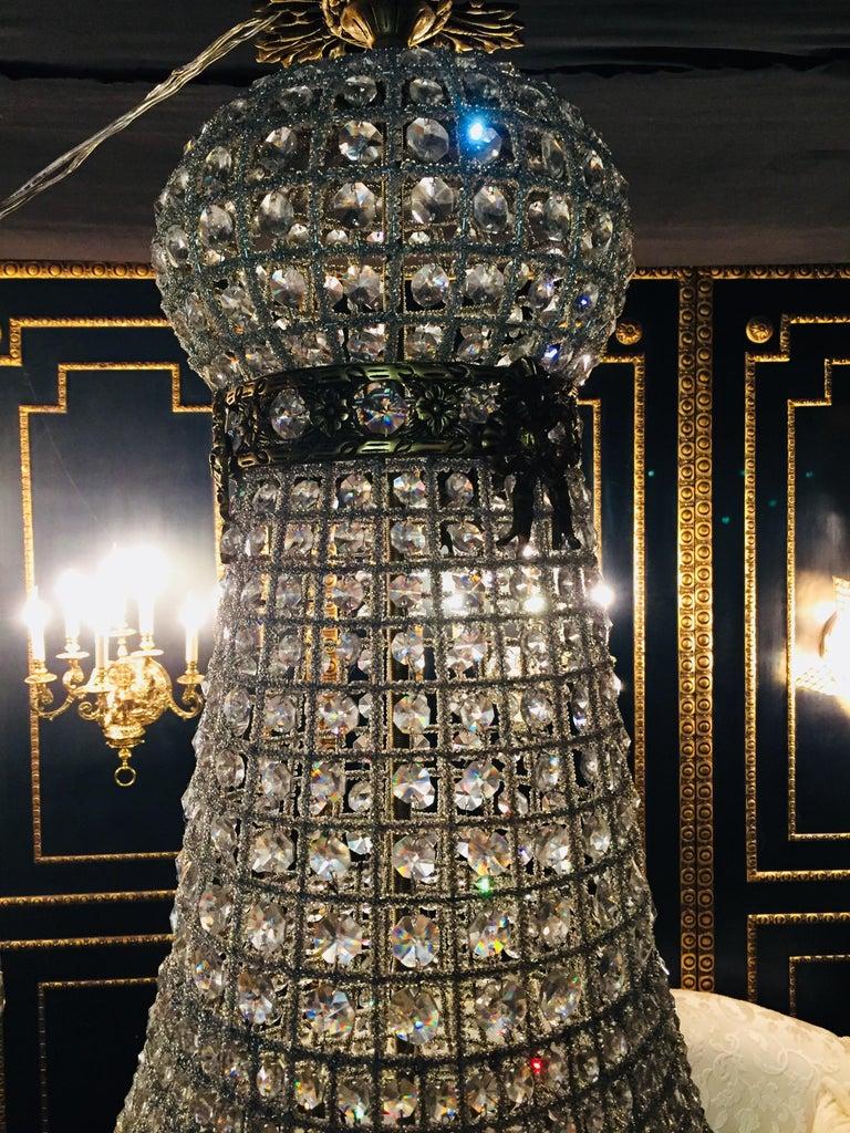 20th Century Biedermeier Style Basket Candelabra Crystal For Sale 6