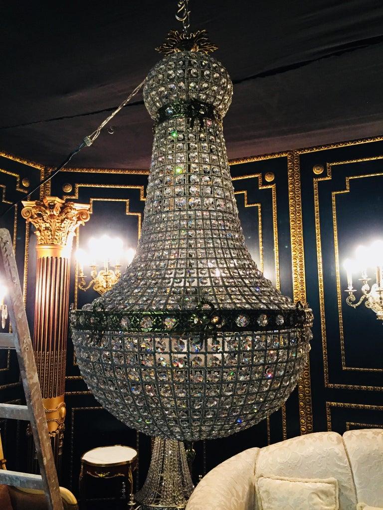 20th Century Biedermeier Style Basket Candelabra Crystal For Sale 7