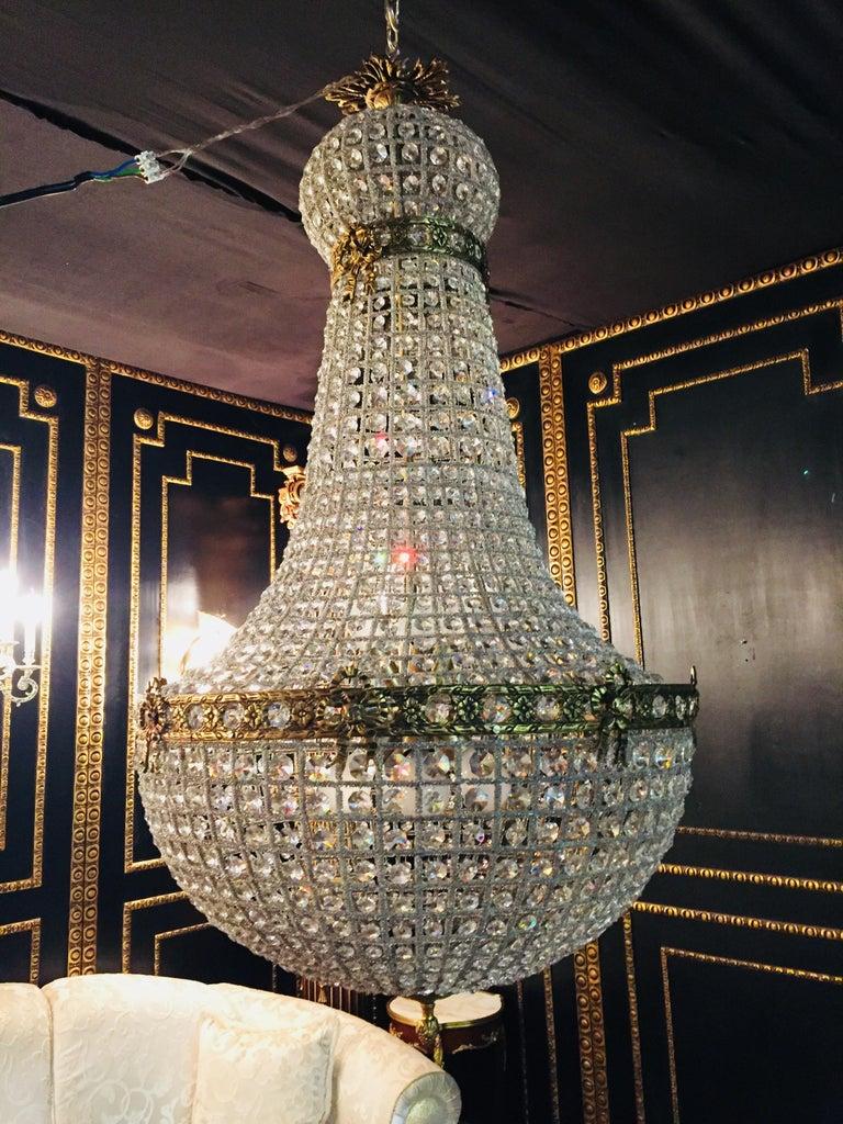 20th Century Biedermeier Style Basket Candelabra Crystal For Sale 8