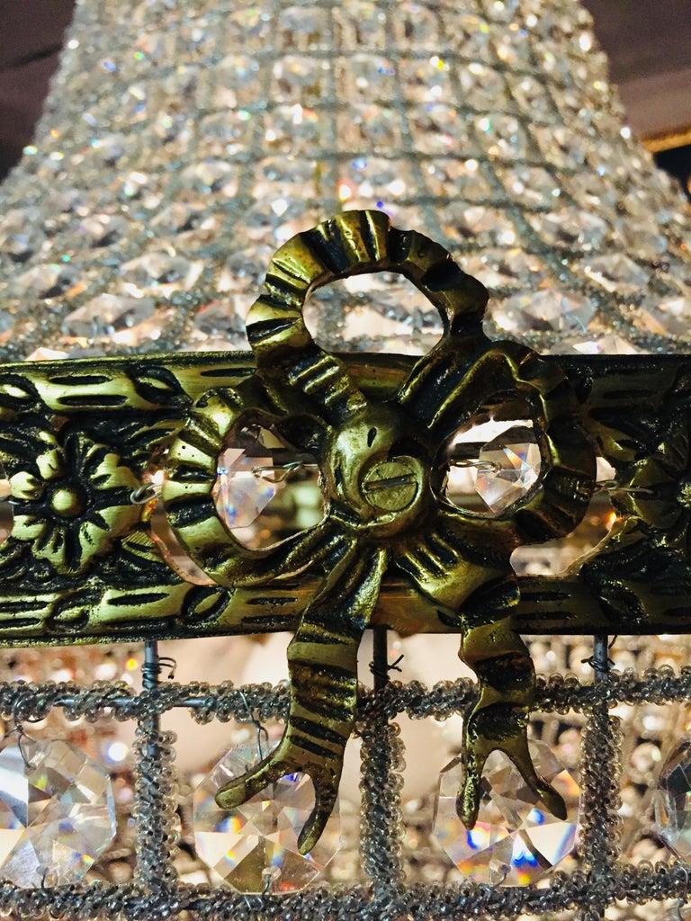 Glazed 20th Century Biedermeier Style Basket Candelabra Crystal For Sale