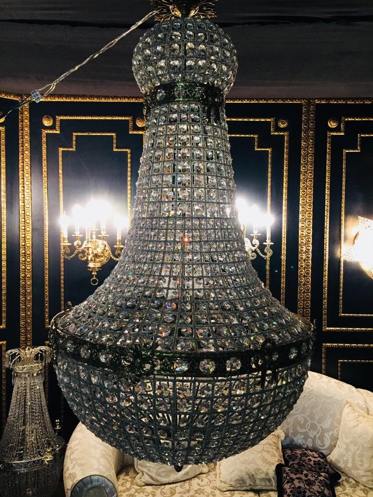 20th Century Biedermeier Style Basket Candelabra Crystal For Sale 2