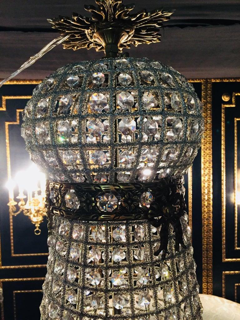 20th Century Biedermeier Style Basket Candelabra Crystal For Sale 3