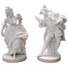 20th Century Biscuit Porcelain Sculptures, Loving Couple
