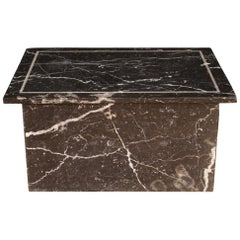 20th Century Black and White Marble Belgian Coffee Table, 1980