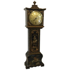 20th Century Black Chinoiserie Miniature Longcase Clock