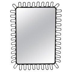 20th Century Black Danish Painted Metal Rectangular Wall Mirror