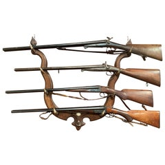 20th Century Black Forest Carved Gun or Coat Rack with Real Horn Hooks