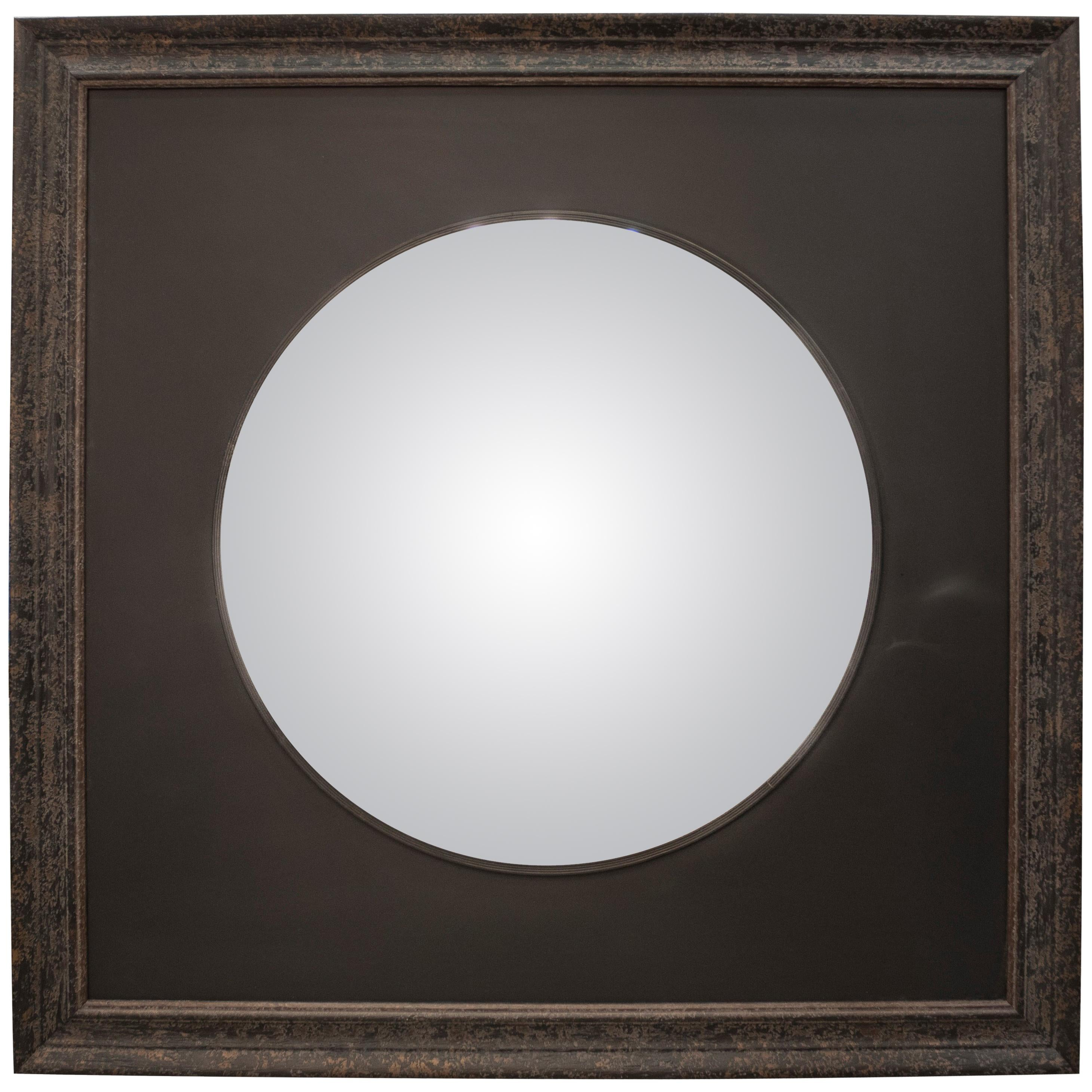 Black French Convex Mirror on black wood frame, France 2008