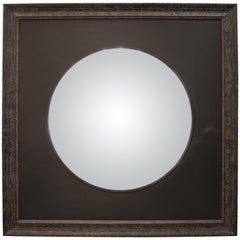 20th Century black French convex mirror on black wood frame, France 2008