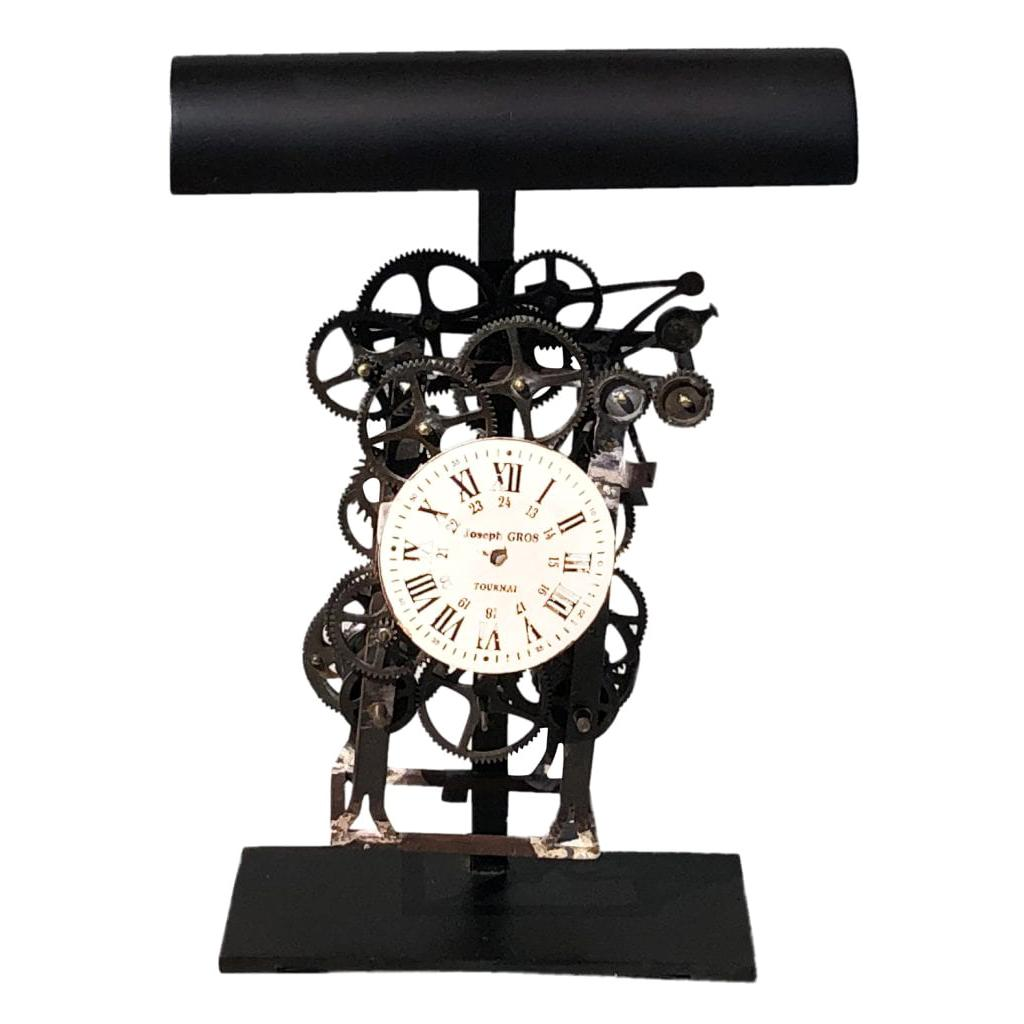20th Century Black French Industrial Table Lamp, Desk Metal Clock